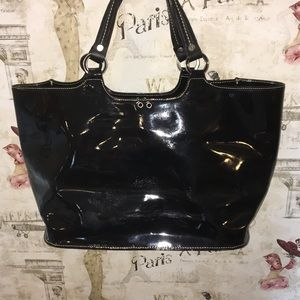 Donald J Pliner Dual Handle Patent Leather Tote